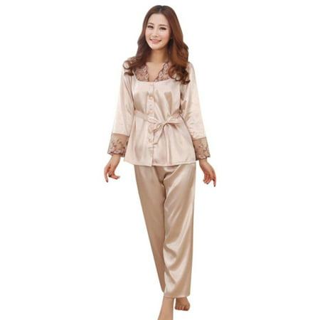 a18c12cc4b EFINNY - EFINNY Women s Silk Lace Long Sleeve Tops+Pants Nightwear Sleepwear  Set - Walmart.com
