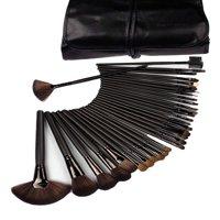 32-Piece Black Cosmetic Makeup Brush Set with Black Bag