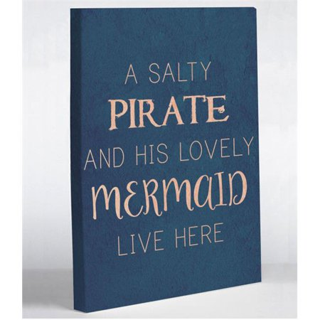 One Bella Casa 74986WD11 11 x 14 in. Salty Pirate Lovely Mermaid Canvas Wall Decor - Blue](Pirate Decor)