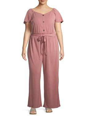 Monteau Women's Plus Size Knit Jumpsuit with Tie Waist