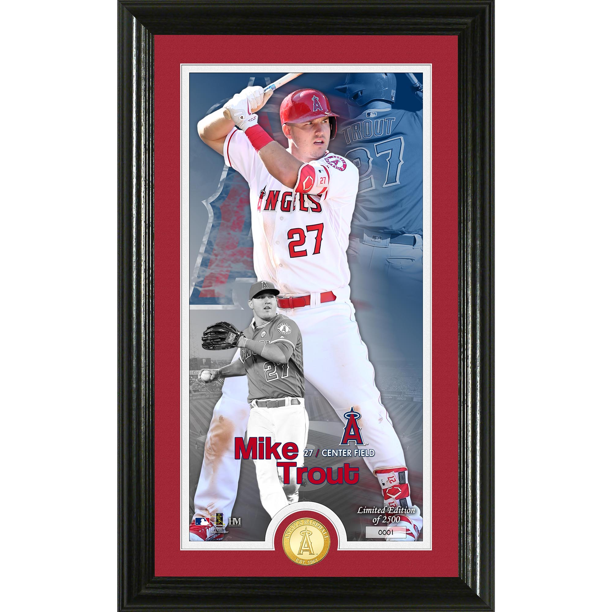 "Mike Trout Los Angeles Angels Highland Mint 12"" x 20"" Player Supreme Photo Mint - No Size"