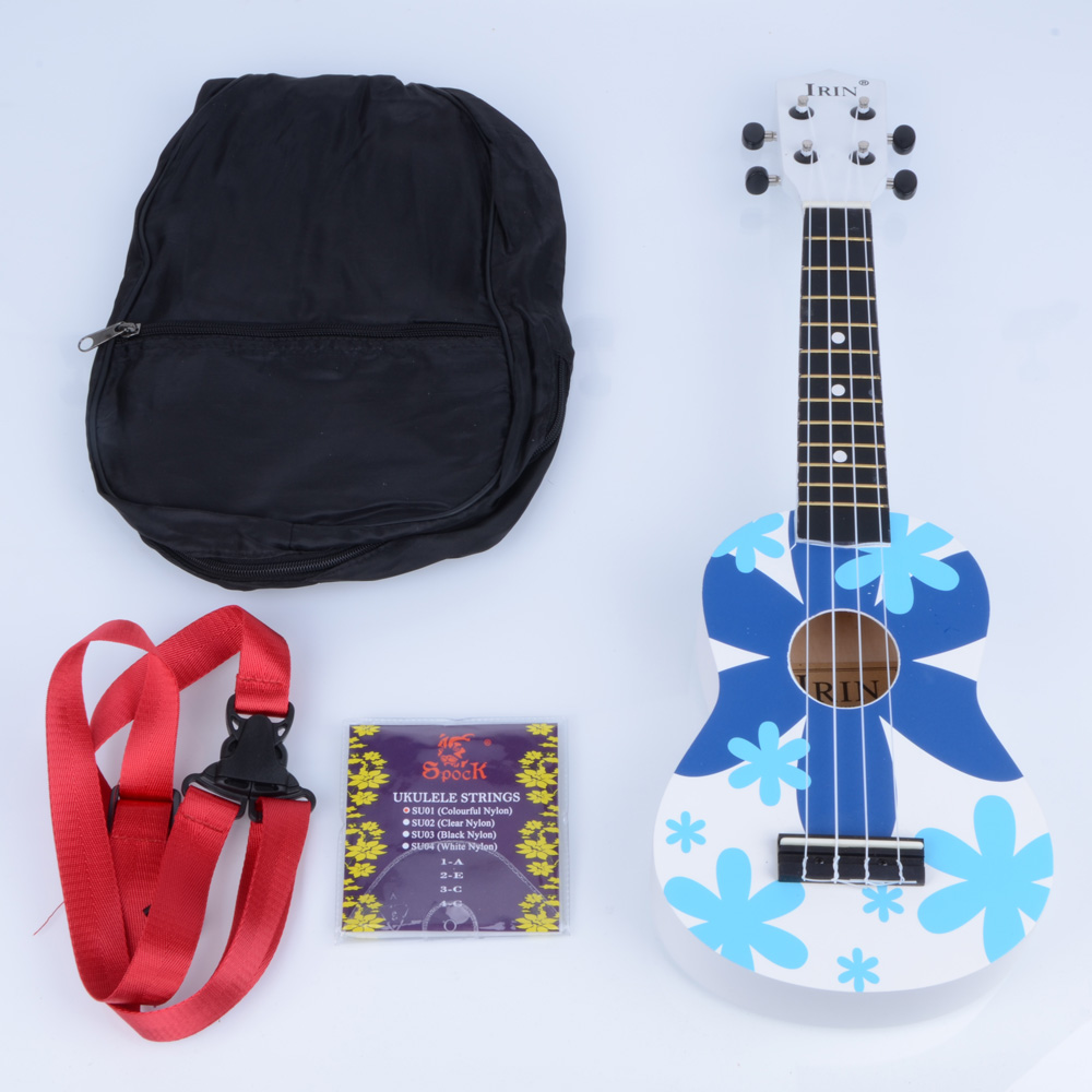"Ktaxon 21"" Blue Flower Basswood Soprano Ukulele 12 Frets Hawaiian Guitar w/ Bag"