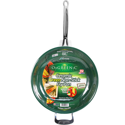"As Seen on TV 12"" OrGREENic Porcelain Ceramic Cooking Fry Pan with Helper Handle by Telebrands"