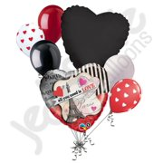 7 pc All You Need is Love Paris Heart Happy Valentines Day Balloon Bouquet Kiss