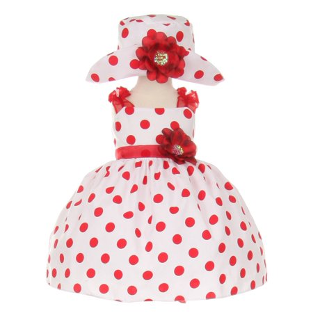 Baby Girls Red White Polka Dot Hat Occasion Dress 6M for $<!---->