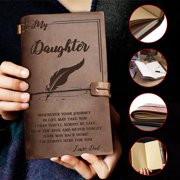 To My Daughter Leather Journal-Enjoy The Ride Writing Journal Drawing Sketch Book, Travel Diary Refillable Notebook,to Daughter Gift for Birthday Graduation