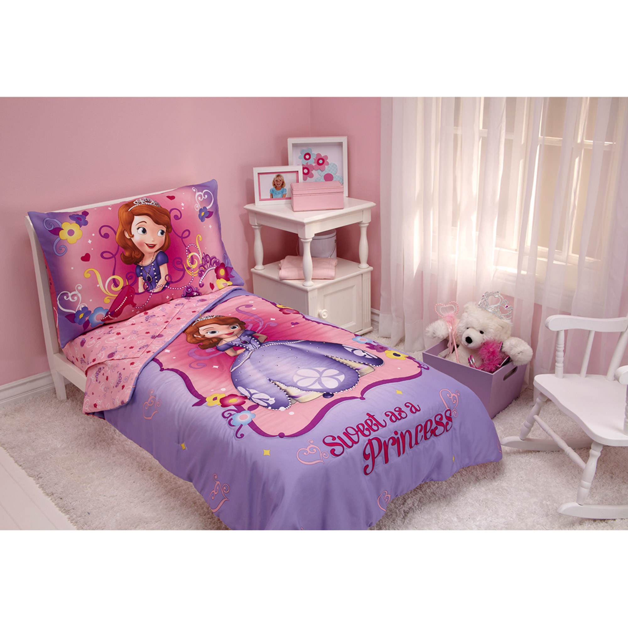 Beautiful Disney Sofia The First 3pc Toddler Bedding Set With BONUS Matching Pillow  Case   Walmart.com