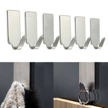6PCS Self Adhesive Home Kitchen Wall Door Stainless Steel Holder Hook Hanger