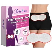 Heat Patches for Menstrual Cramps and Period Pain Relief by Care me- Natural Heating Therapy pads Provide 8-10 hrs of Continuous Warming Comfort for Abdomen and Back Pain (a pack of 3 heat wraps)