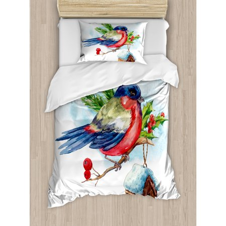 Rowan Twin Size Duvet Cover Set  Merry Christmas Composition With Cute Bullfinch Holly Pine Cone Bird House In Winter  Decorative 2 Piece Bedding Set With 1 Pillow Sham  Multicolor  By Ambesonne