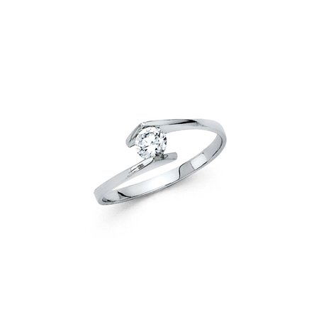 14K Solid White Gold Round Mounted Brilliant Cut Solitaire Cubic Zirconia Engagement Ring , Size 4.5