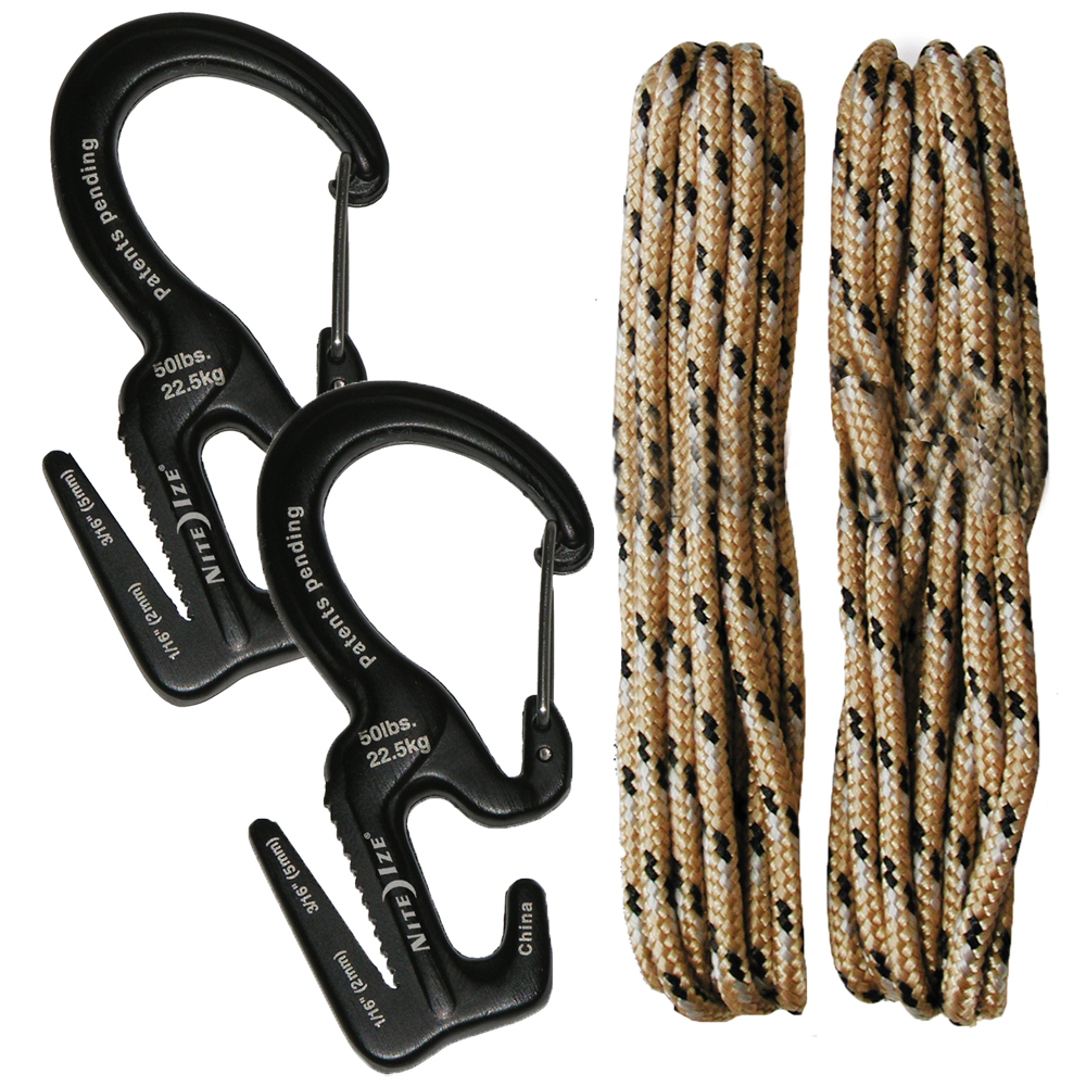 Nite Ize Figure 9 Carabiners with Rope, Small, 2-Pack
