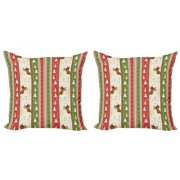 Christmas Throw Pillow Cushion Cover Pack of 2, Chinese Style Lettering Merry Christmas Deer Pines Stars Border Lines, Zippered Double-Side Digital Print, 4 Sizes, Green Dark Coral White, by Ambesonne