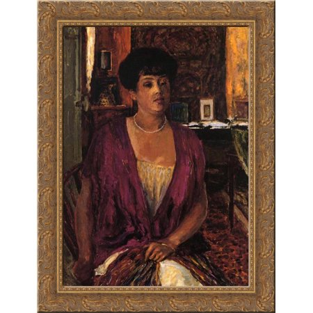 Madame Claude Anet 20x24 Gold Ornate Wood Framed Canvas Art by Bonnard, Pierre