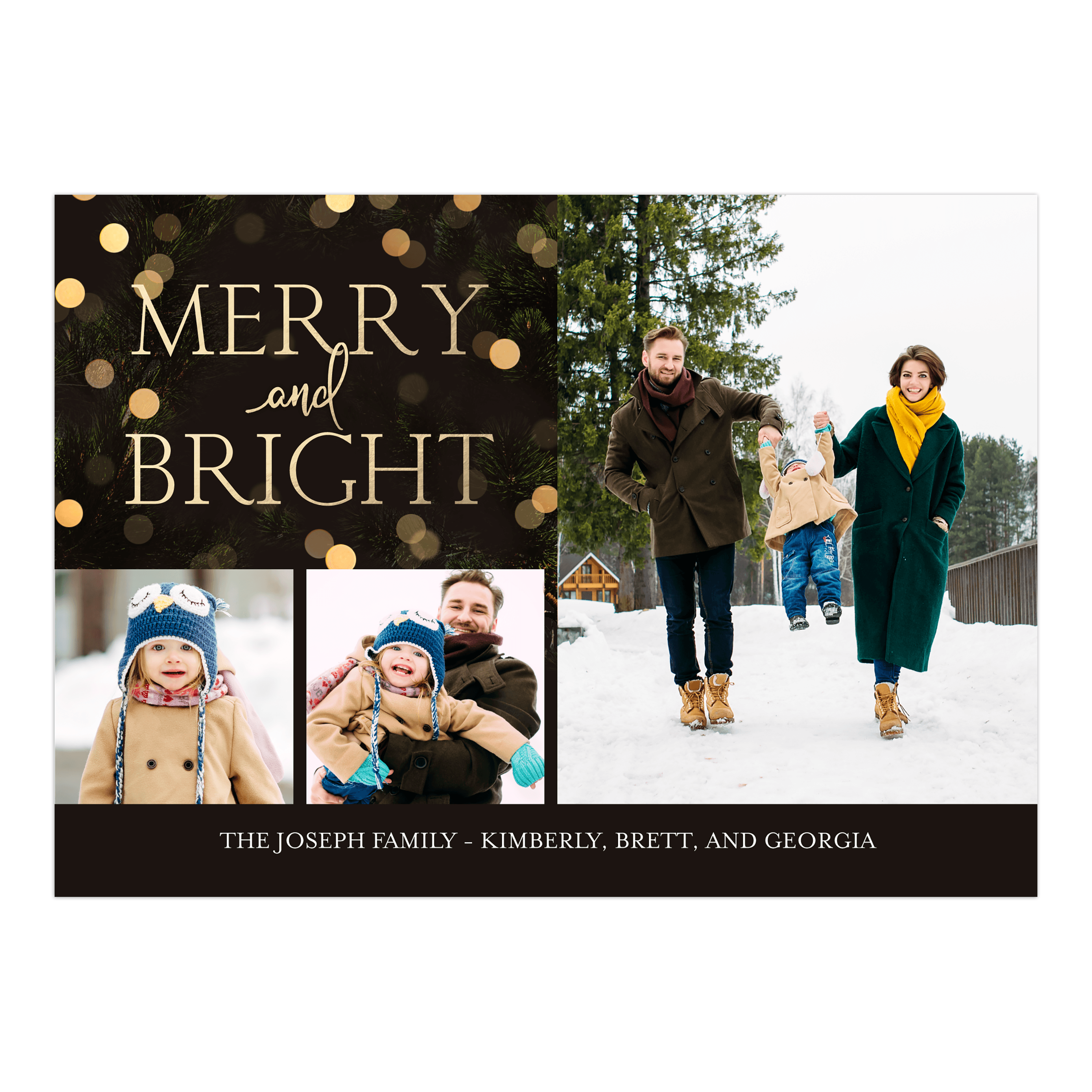 Personalized Holiday Photo Card - Merry & Bright Lights