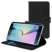 Snugg Black TPU Leather Samsung Galaxy S6 Edge Case - Flip Case