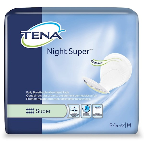 TENA Night Pads, NIGHT SUPER Pad Liners, Heavy Absorbency, 62718 - Pack of 24