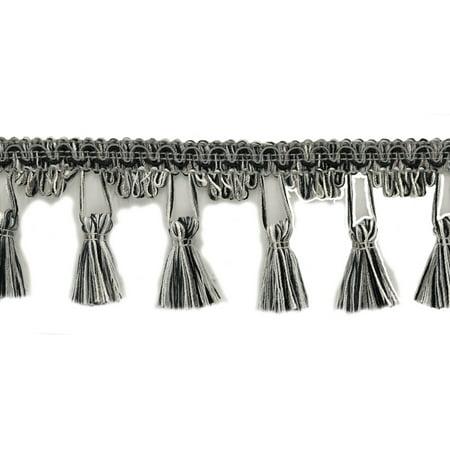 2.5 Inch Black, Medium Grey, Vanilla Tassel Fringe Trim Style# TFC025 Color: Tuxedo - PR23 Sold By the Yard