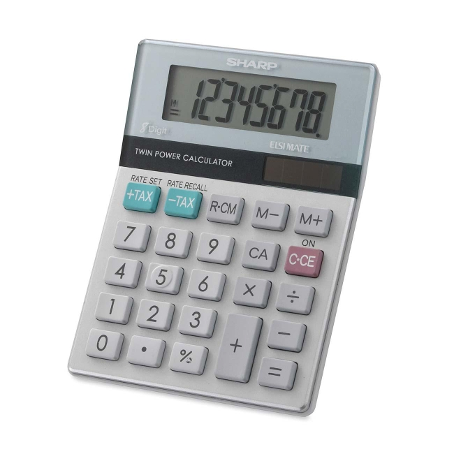 "Sharp EL310TB Mini Desktop Display Calculator - 8 Digits - LCD - Battery/Solar Powered - 3.5"" x 4.7"" x 1.1"" - White, Gre"