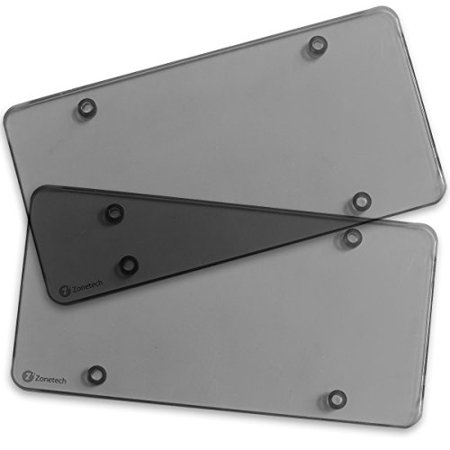 Clear Smoked License Plate Shields - Zone Tech 2-Pack Novelty/License Plate Clear Smoked Flat Shields