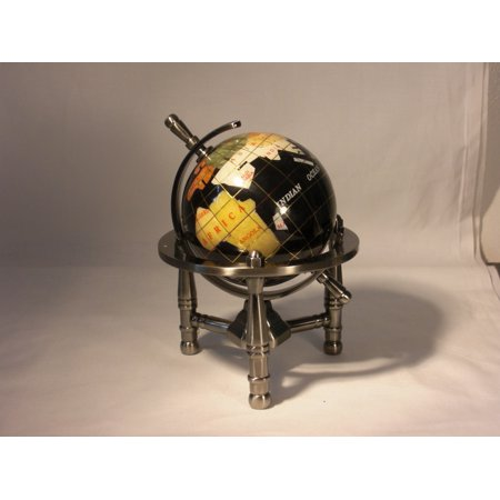 Unique Art 6-Inch Tall Black Ocean Mini Table Top Gemstone World Globe with Silver Tripod Stand (Mini Globes)