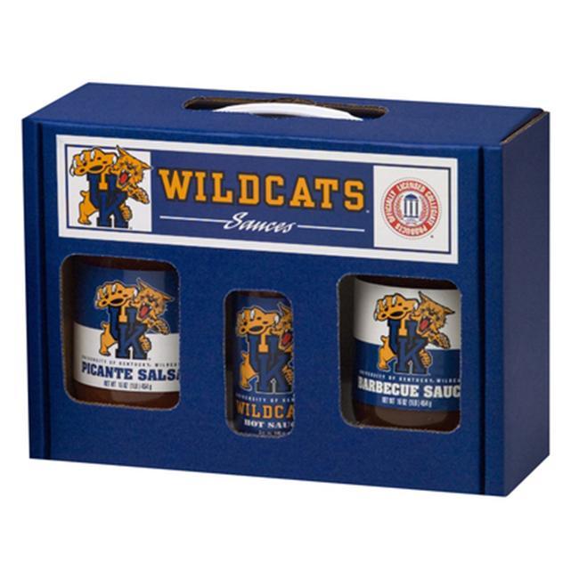 Kentucky Wildcats NCAA Tailgate Kit (5oz Hot Sauce, 16oz BBQ Sauce, 16oz Picante Salsa) by Hot Sauce Harrys