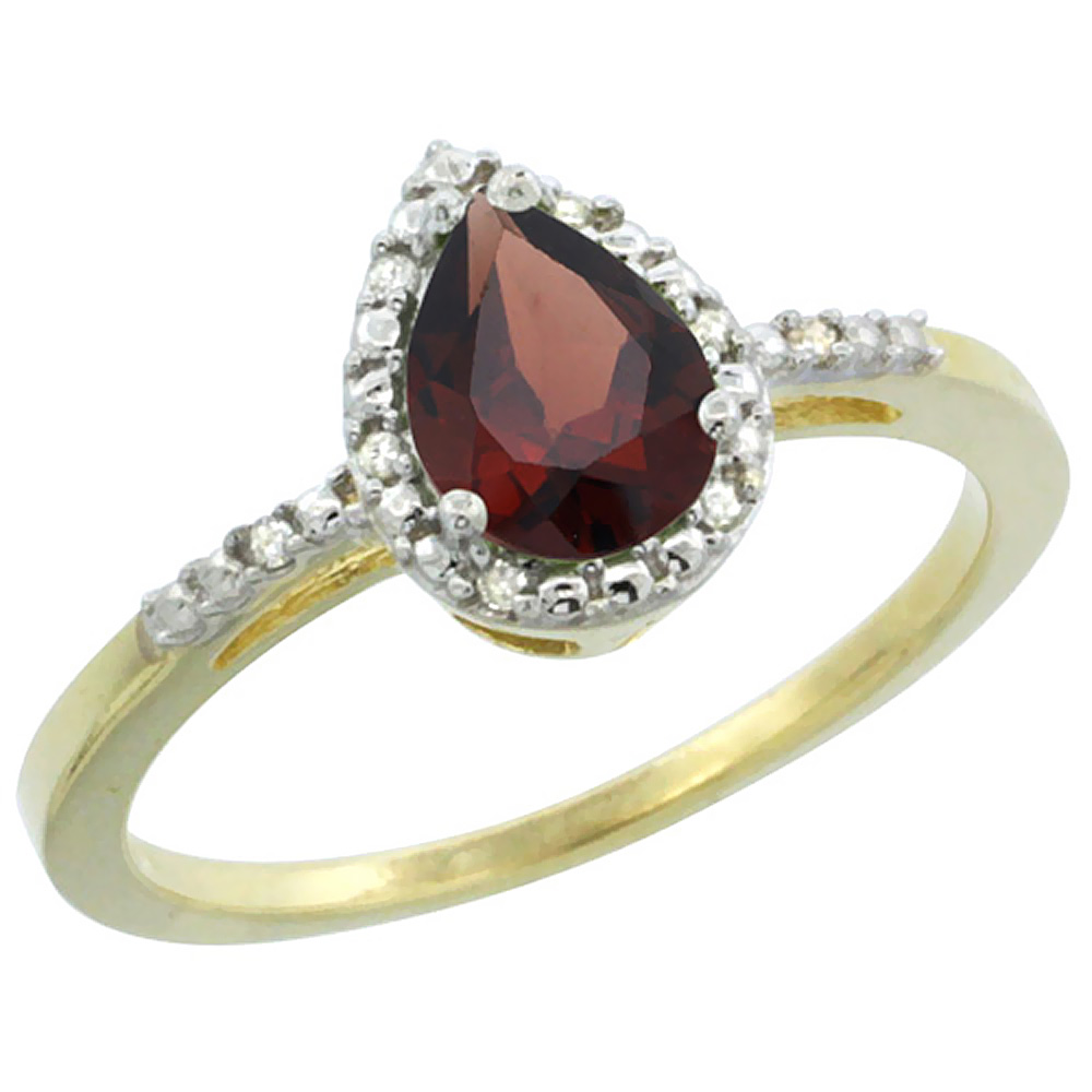 14K Yellow Gold Diamond Natural Garnet Ring Pear 7x5mm, sizes 5-10 by WorldJewels