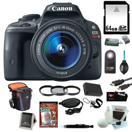 Canon EOS Rebel SL1 DSLR w/ 18-55mm EF-S IS STM Lens Plus 64GB Deluxe Accessory Kit