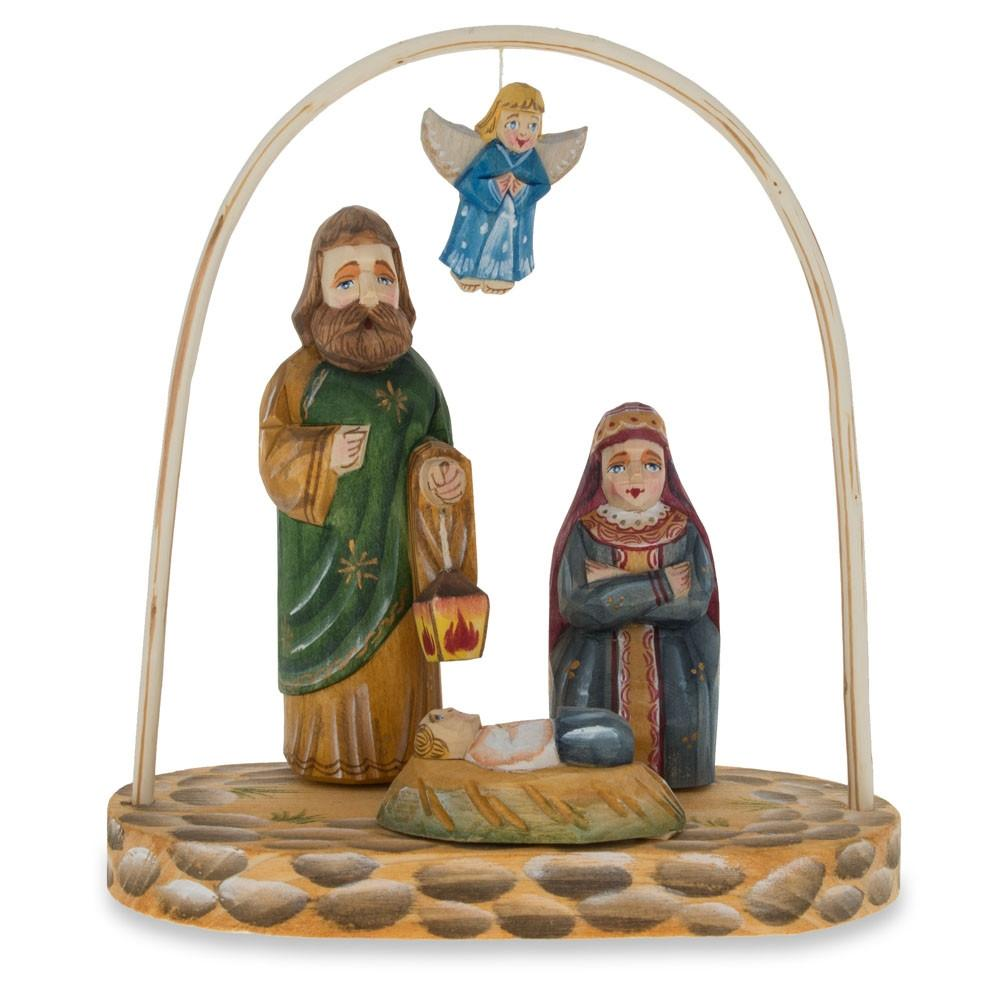 "6.4"" Russian Wooden Hand Carved Nativity Scene Figurines"
