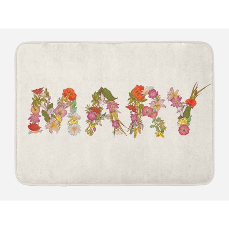 839 Bath (Mary Bath Mat, Blossoming Flowers with Daisies Roses and Poppies Traditional Well Known Girl Name, Non-Slip Plush Mat Bathroom Kitchen Laundry Room Decor, 29.5 X 17.5 Inches, Multicolor, Ambesonne)