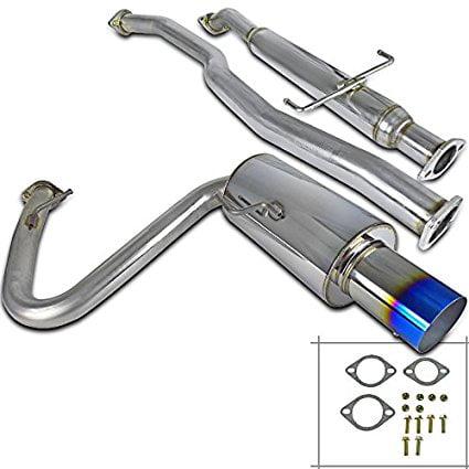 Spec-D Tuning MFCAT3-240SX95T-SD Nissan 240Sx S14 3 Inlet SS Titanium Burnt Tip Catback Exhaust Muffler