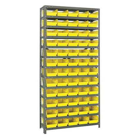 Bin Shelving, Solid, 36X18, 60 Bins, Yellow QUANTUM STORAGE SYSTEMS 1875-104YL