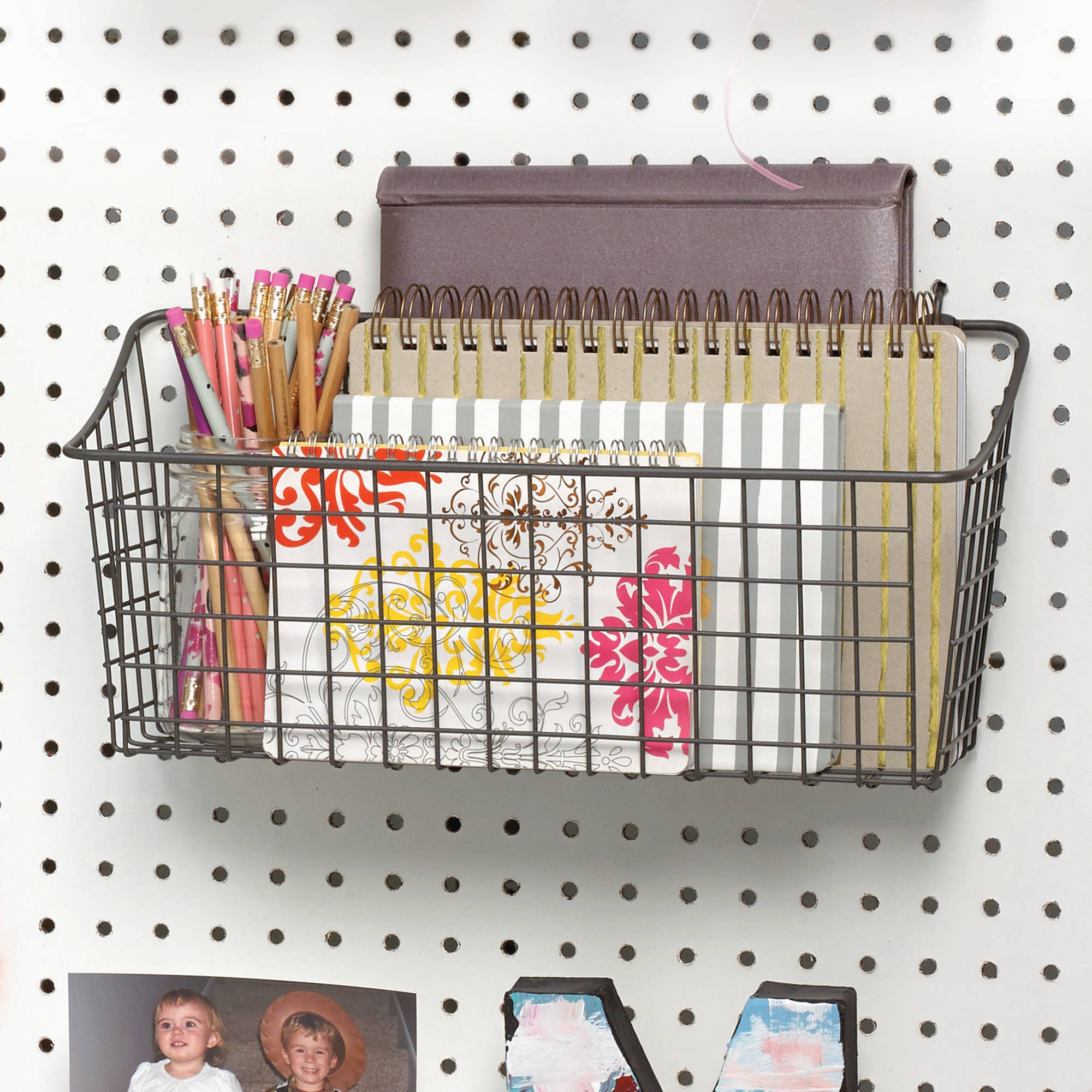 Spectrum Pegboard and Wall Mount Basket, Industrial Gray, Extra Large