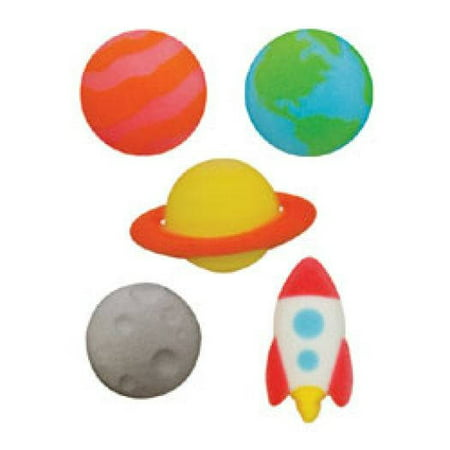 Outer Space Assortment Rocket Ship Planets Sugar Decorations Toppers Cupcake Cake Cookies Birthday Favors Party 12 Count (Rocket Birthday)