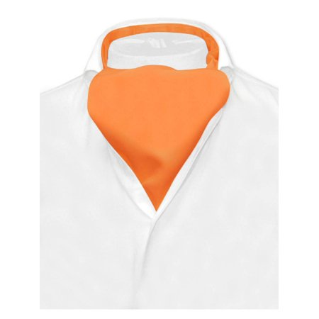 - Vesuvio Napoli ASCOT Solid ORANGE Color Cravat Men's Neck Tie