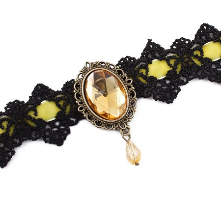 Lady Wide Lace Design Bead Pendant Adjustable Necklace Collar Choker Yellow - image 1 of 4