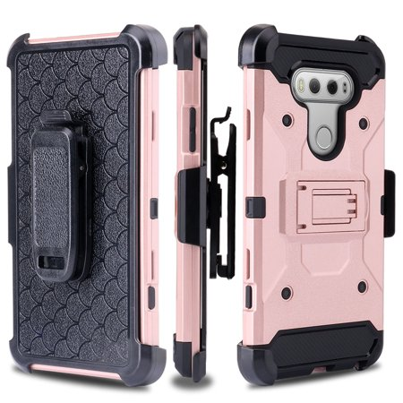 LG V20 Case, Premium Tough Triple Layer Hybrid Holster[Built in KickStand] Case Combo for LG V20 - Rose