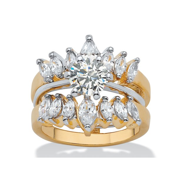 PalmBeach Jewelry - 2.95 TCW Round and Marquise-Cut Cubic ...