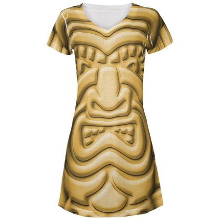 Tiki God Gold Face Luau All Over Juniors Beach Cover-Up Dress