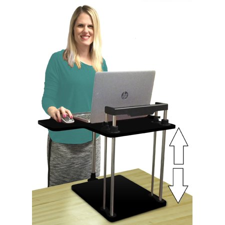 Stand Up Desk >> Uptrak By Stand Steady Standing Desk Height Adjustable Converts Any Desk Or Cube To A Sit Stand Up Desk Black