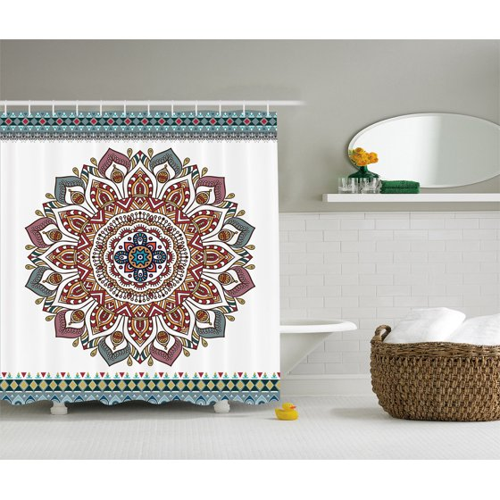 Indian Traditional Mandala Medallion Bathroom Decor Shower Curtain Extra Long -6937