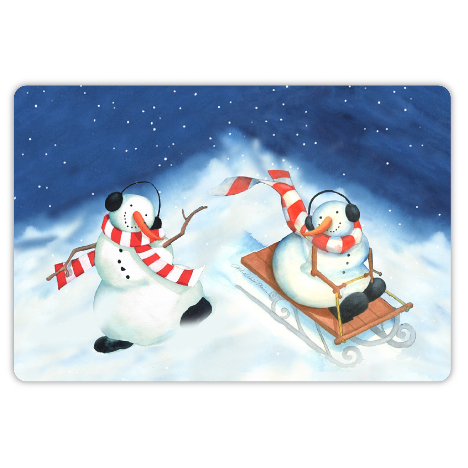 Drymate Winter Collection Welcome Mat - Snowman Sledders