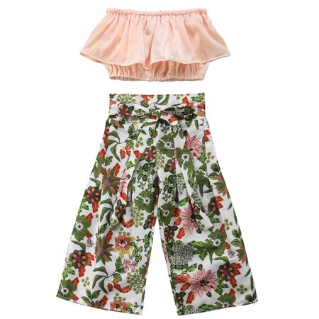 Kid Baby Girls Strapless Ruffle Crop Top+Floral Wide Leg Pant 2PCS Outfits