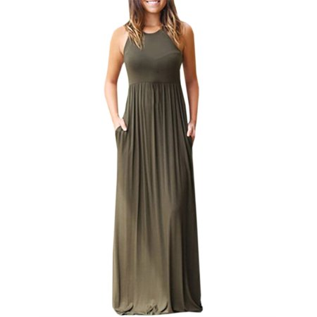Sleeveless Solid Color Women Slim Long Party Dress - Belle Dress For Women
