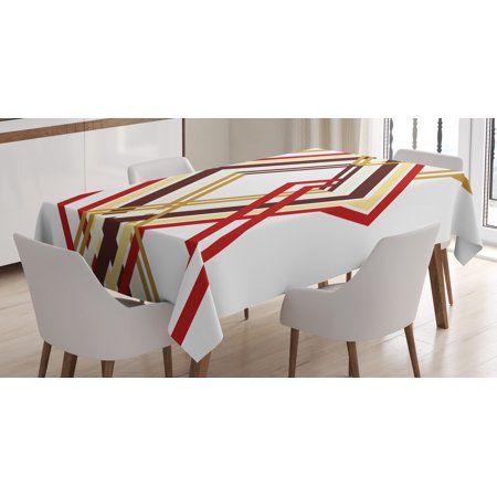 Modern Decor Tablecloth, Retro Diamond Like Border Lined Geometric Artwork Design , Rectangular Table Cover for Dining Room Kitchen, 60 X 84 Inches, Ruby Caramel Brown and Tan, by Ambesonne