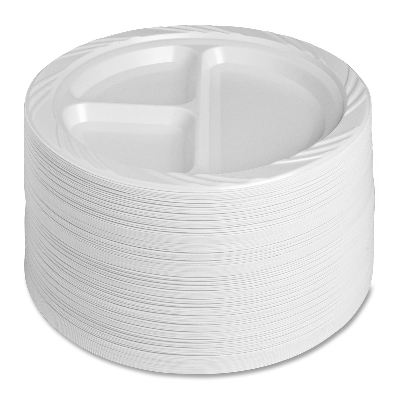 Genuine Joe 3-section Reusable Divided Plates - 9  Diameter Plate - Plastic - Disposable - White - 500 Piece[s] / Carton (10425ct) - Walmart.com  sc 1 st  Walmart : large disposable plates - pezcame.com