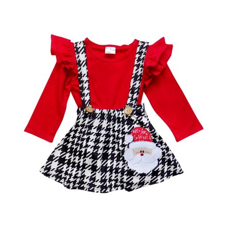 So Sydney Suspender Skirt 2 Piece Outfit, Girls Toddler Winter Christmas Holiday Dress Up Boutique Outfit