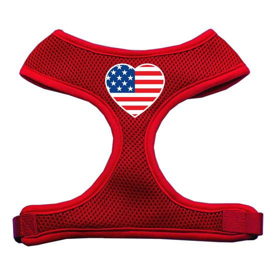 Heart Flag Usa Screen Print Soft Mesh Harness Red Small