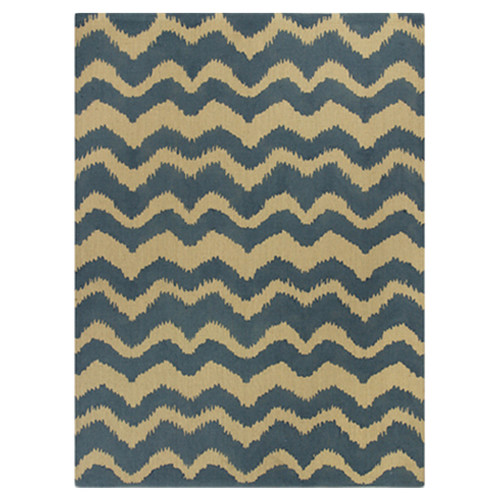 KAS Rugs Natura Blue/Gold Chevron Area Rug