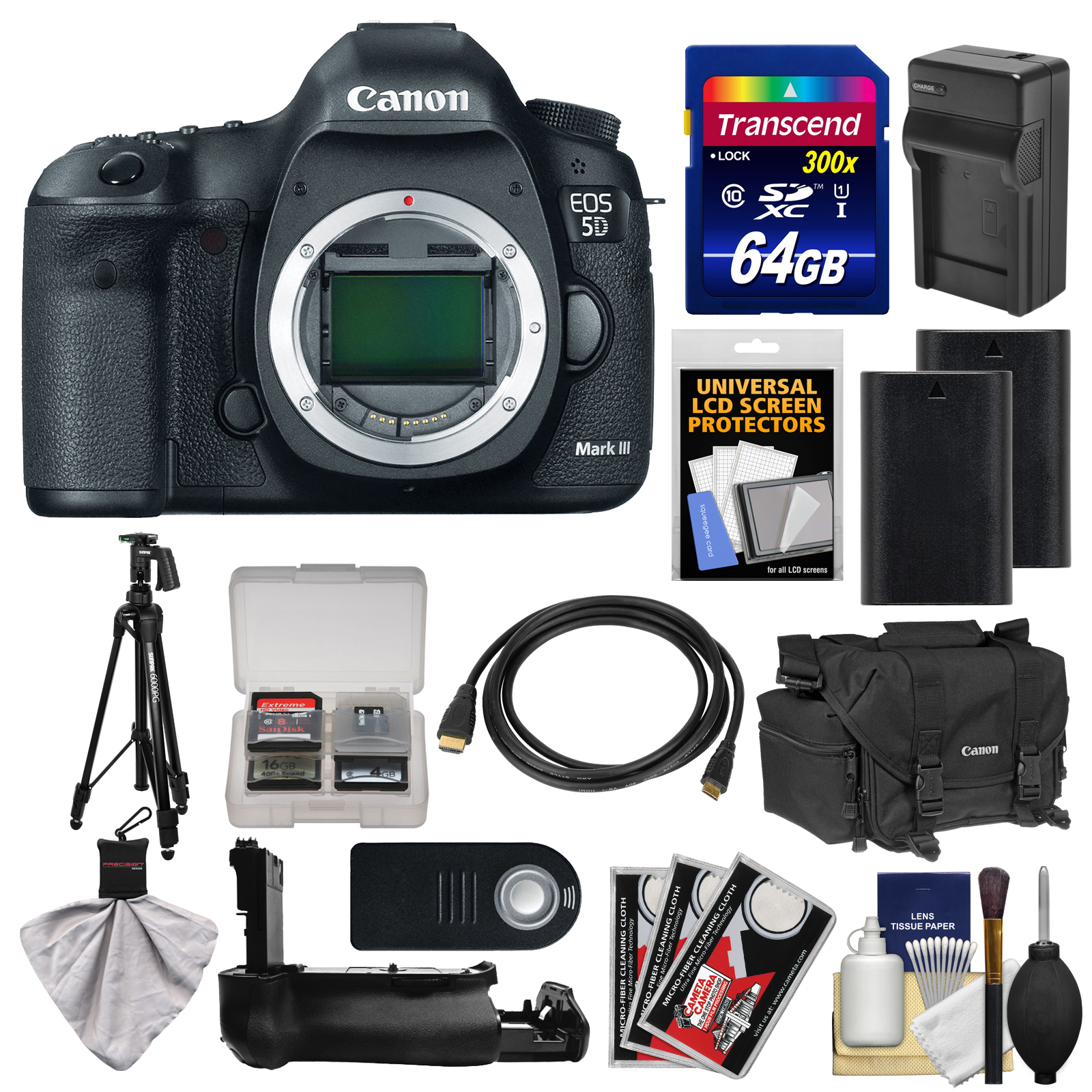 Canon EOS 5D Mark III Digital SLR Camera Body with Case + 2 Batteries & Charger + Grip + Tripod + Accessory Kit by Canon